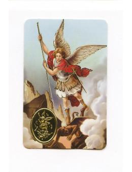 Carte plastifiée prière avec poinçons style médaille Saint Georges