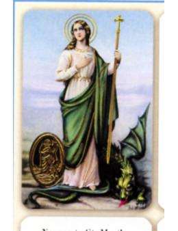 Carte plastifiée prière avec poinçons style médaille Sainte Marthe