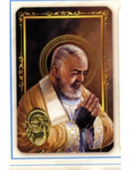 Carte plastifiée prière avec poinçons style médaille Padre Pio
