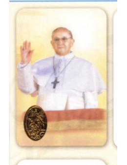 Carte plastifiée prière avec poinçons style médaille Pape François