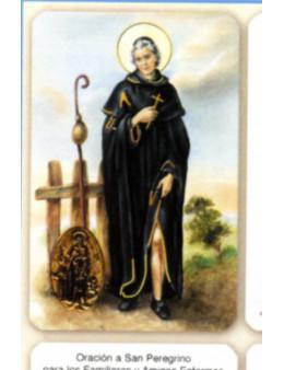 Carte plastifiée prière avec poinçons style médaille Saint Pérègrin
