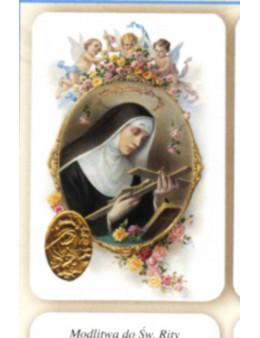 Carte plastifiée prière avec poinçons style médaille Sainte Rita
