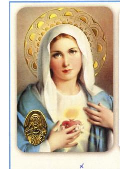 Carte plastifiée prière avec poinçons style médaille Sacré Coeur de Marie