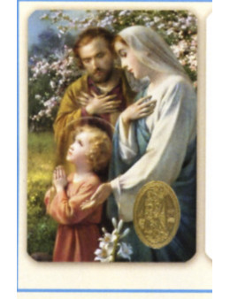 Carte plastifiée prière avec poinçons style médaille Sainte Famille