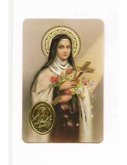 Carte plastifiée prière avec poinçons style médaille Sainte Thérèse