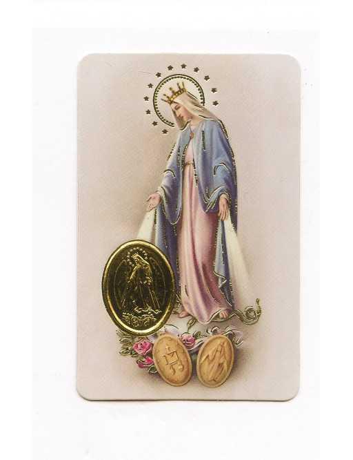 Carte plastifiée prière avec poinçons style médaille Sainte Vierge Miraculeuse