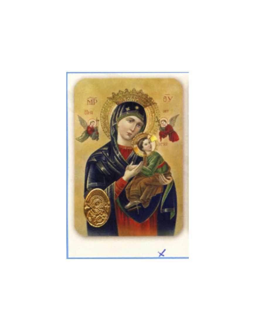 Carte plastifiée prière avec poinçons style médaille Vierge du Perpétuelle Secour