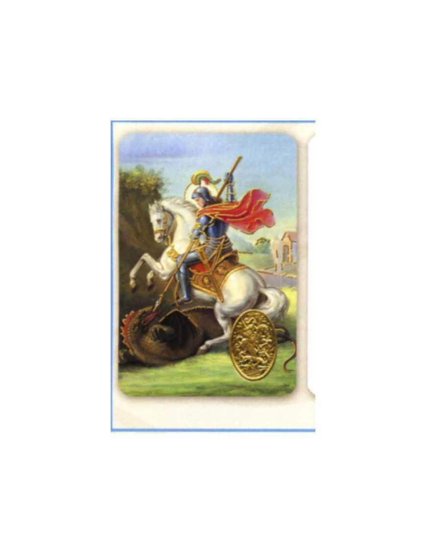 Carte plastifiée prière avec poinçons style médaille Saint Michel