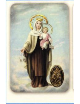 Carte plastifiée prière avec poinçons style médaille Mont Carmel