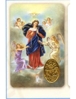 Carte plastifiée prière avec poinçons style médaille Marie qui défait les Noeuds