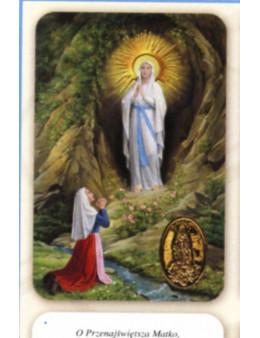 Carte plastifiée prière avec poinçons style médaille Notre Dame de Lourdes