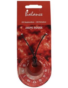 Pendentif pierre ronde percée - Balance - Jaspe rouge