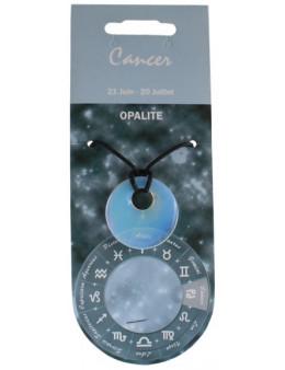 Pendentif pierre ronde percée - Cancer - Opaline