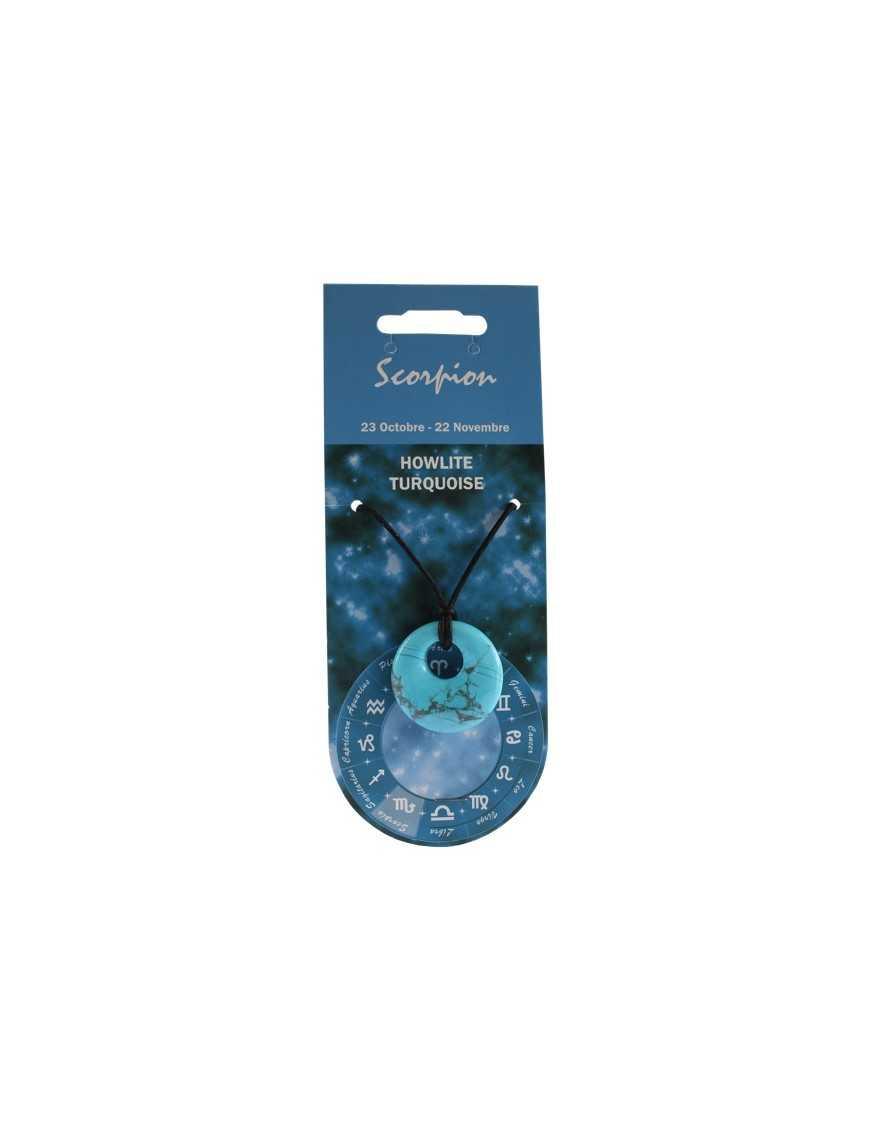 Pendentif pierre ronde percée - Scorpion - Howlite turquoise