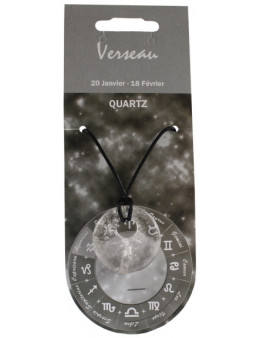 Pendentif pierre ronde percée - Verseau - Quartz
