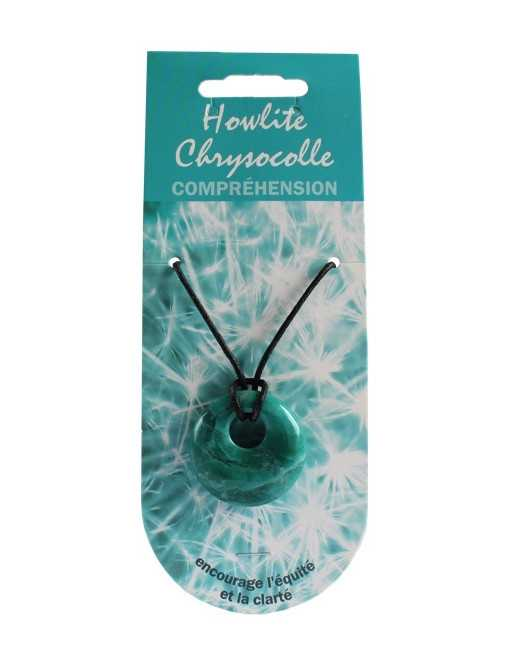 Pendentif pierre ronde percée - Howlite chrysocolle