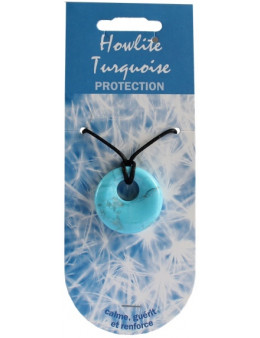 Pendentif pierre ronde percée - Howlite turquoise