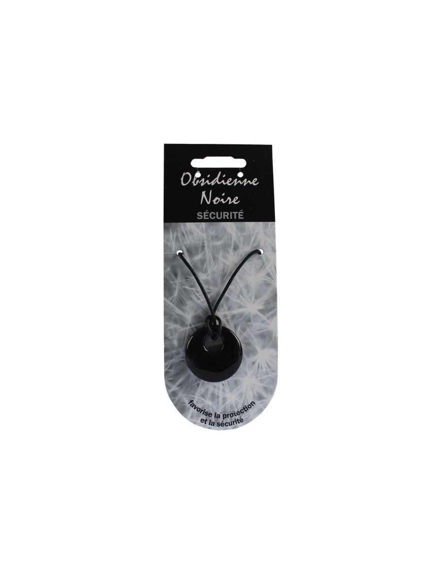 Pendentif pierre ronde percée - Obsidienne noire