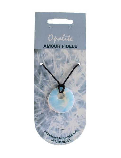 Pendentif pierre ronde percée - Opalite