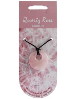Pendentif pierre ronde percée - Quartz rose