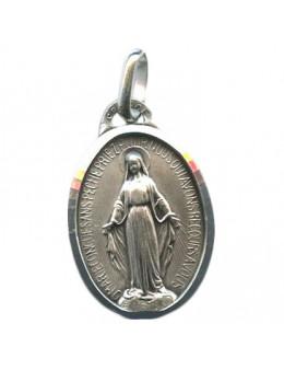 Médaille argent Vierge Miraculeuse avec bordure 13 mm