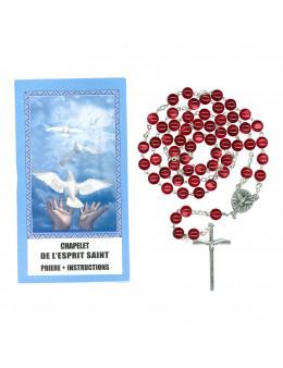 Chapelet Esprit Saint grains verre coeur colombe Bleu