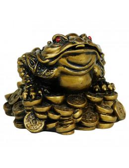 Crapaud Fortune en résine doré