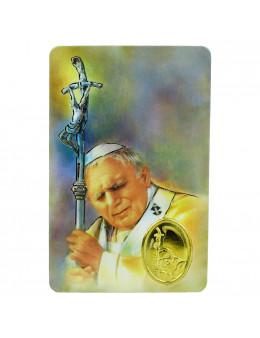 Carte Pape Jean-Paul II avec médaille et prière en français