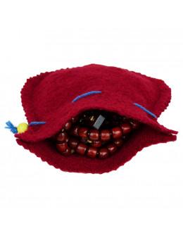 Chapelet corde rosaire avec pochette feutrine rouge