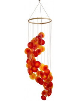 Mobile coquillages jaune orange rouge - spirale - 80 cm