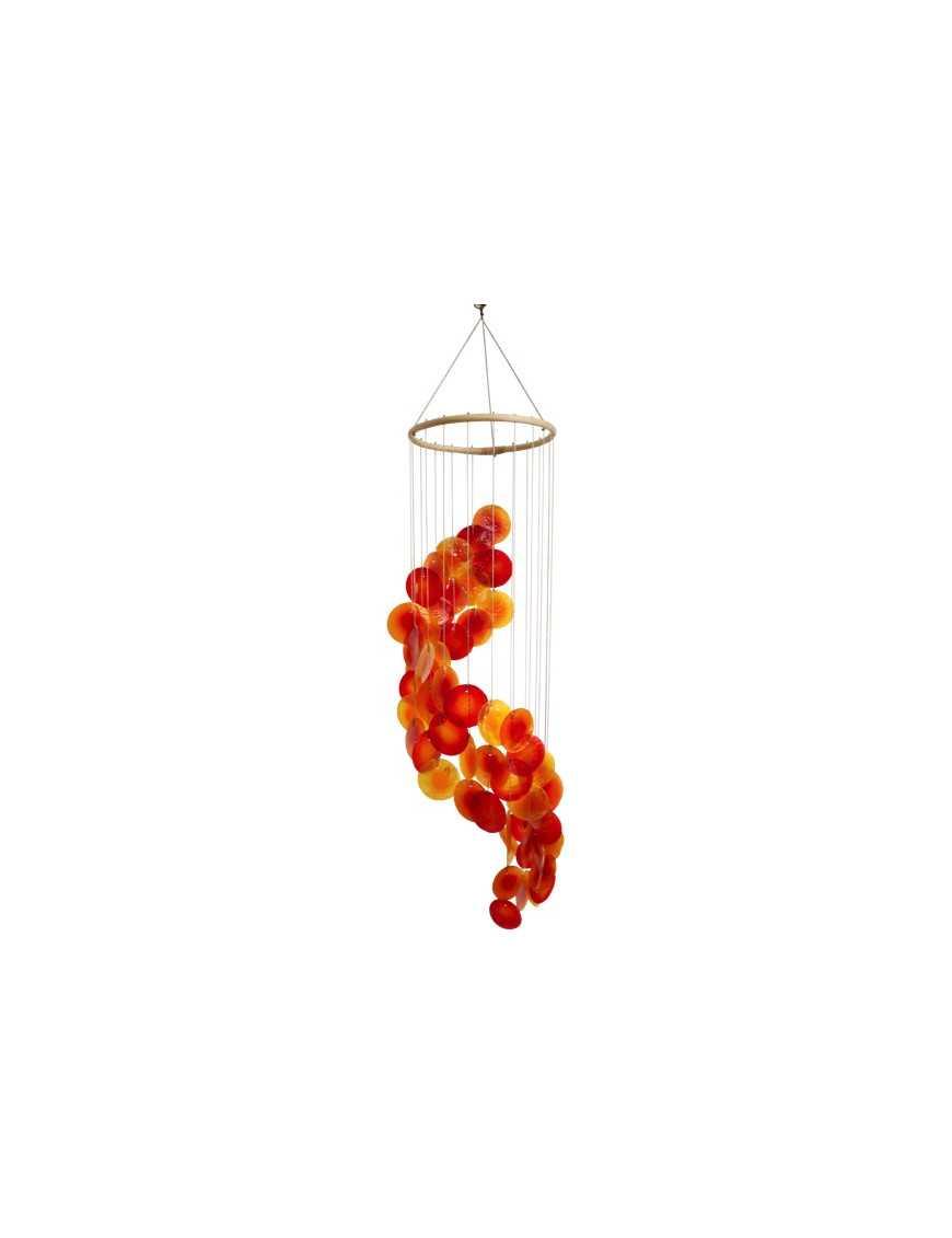 Mobile coquillages jaune orange rouge - spirale - 80 cm