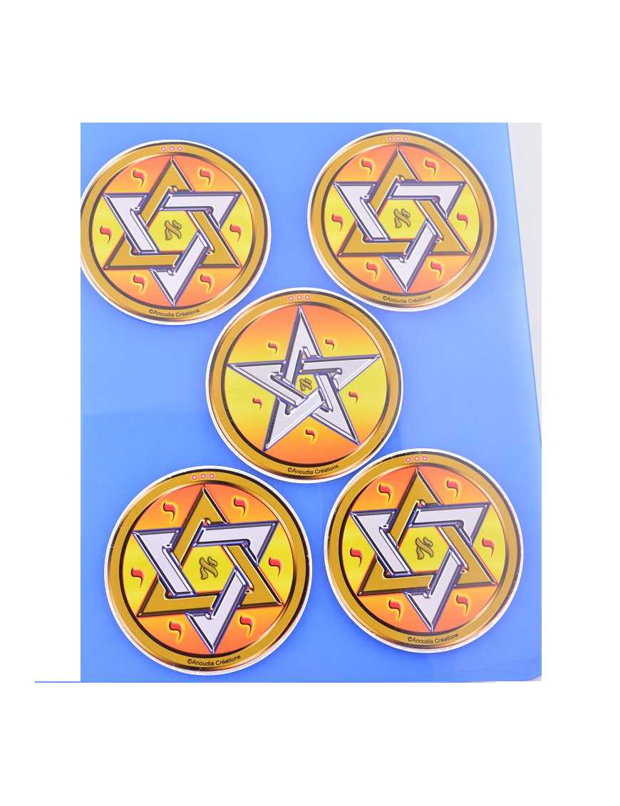 Quadrilatères de protection - 4 hexagrammes et 1 pentagramme