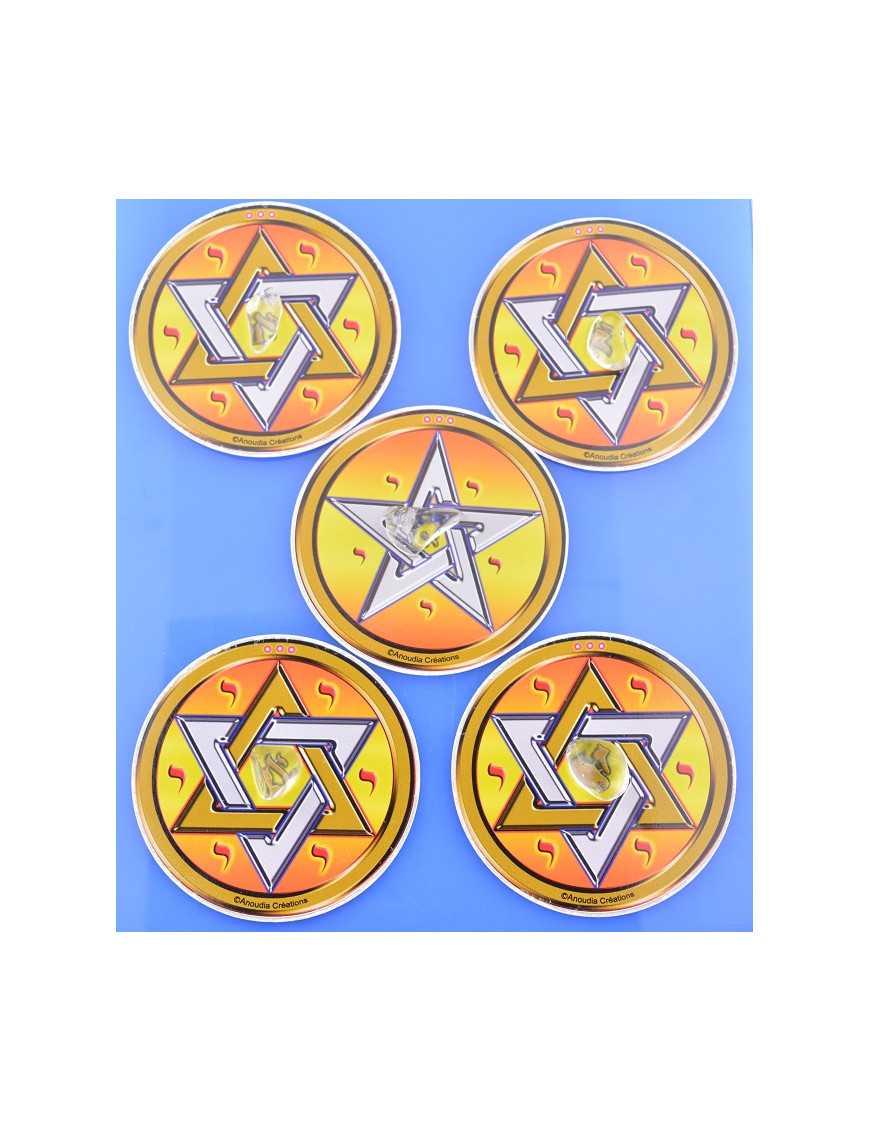 Quadrilatères de protection - 4 hexagrammes/1 pentagramme/5 cristaux de roche