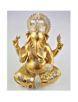 Statue Ganesha assis 20 cm - Or et argent en résine