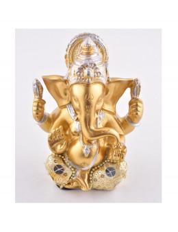 Statue Ganesha assis 13 cm - Or et argent en résine