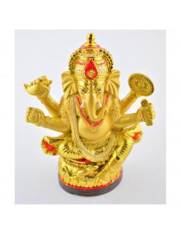 Statue Ganesha assis 12.5 cm - Or et rouge en résine