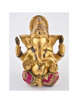 Statue Ganesha assis 12 cm - Or, noir et rouge en résine