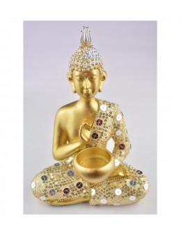 Statue Bouddha Méditation 22 cm - Or et argent en résine