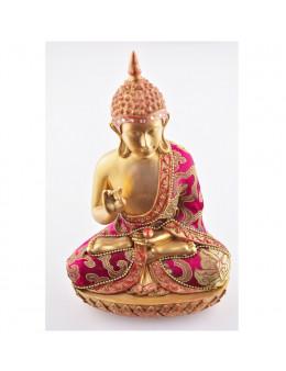 Statue Bouddha Méditation 22cm - Or et rouge en résine