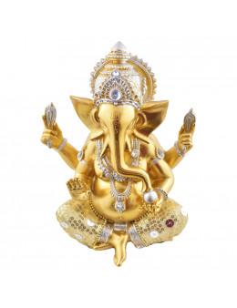 Statue Ganesha assis 20 cm - Or et Blanc en résine