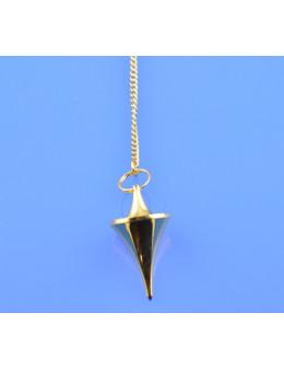 Pendule métal conique doré avec chaînette - Diamètre 1,5 cm