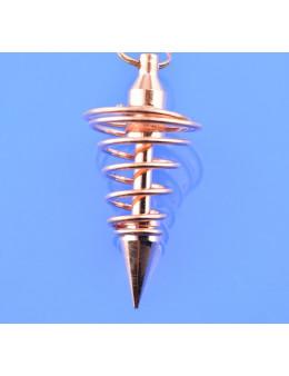 Pendule métal spiral cuivré avec chaîne cuivrée - Diamètre 1.6 cm
