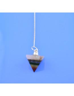 Pendule pyramide 7 chakras avec chaîne argentée