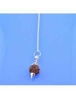 Pendule métal avec rudraksha et chaîne argentée