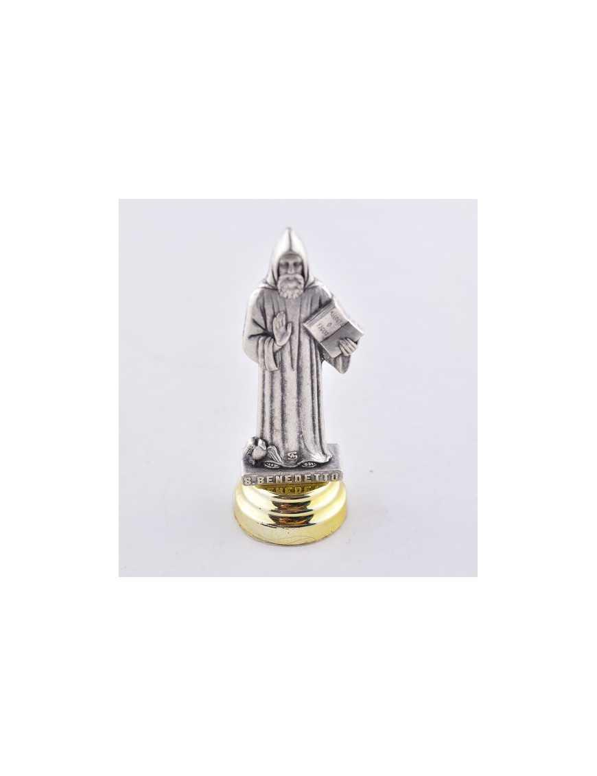 Statue métal Saint Benoit - Socle Adhésif - 7 cm