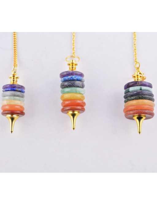 Pendule donuts 7 chakras avec chaîne dorée
