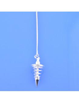 Pendule métal spiral argenté avec chaîne argentée - Diamètre 2.5 cm