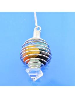 Pendule spiral pierres de chakras et chaine argentée