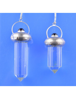 Pendule métal et cristal de roche avec chaîne argentée
