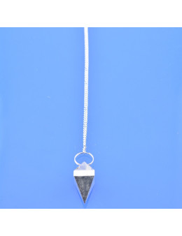 Pendule métal argenté pyramidal avec chaîne argentée